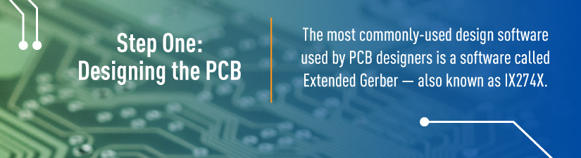 step one in pcb:the mostly commonly used design software used by pcb designers is called extended gerber-also known as IX274X
