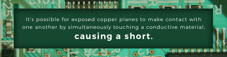 It's possible for exposed copper planes to make contact with one another by touch a conductive material causing a short
