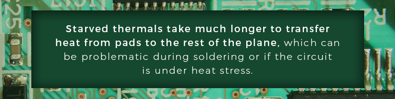 Starved thermals take longer to transfer heat from pads to the plane, causing issues during soldering under heat stress